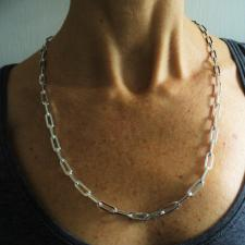 Silver rectangular link necklace 60 cm