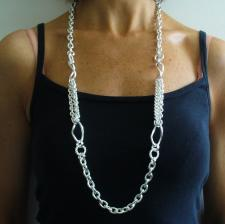 Long sterling silver necklace cm 90, made in Italy. Hollow link chain 85 grams.