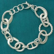 Sterling silver handmade bracelet. Made in Italy. Asymmetrical oval link 17mm.