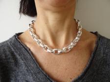 Collana maglie ovali grandi in argento