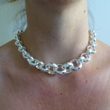 Sterling silver graduated belcher necklace