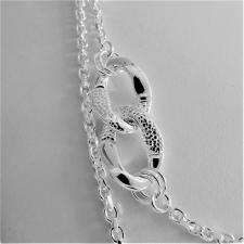 Sterling silver Croco texture link necklace 16mm. Length 100 cm, 58 grams.