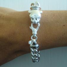 Women's sterling silver panther bracelet. Curb link chain 10mm.