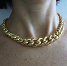 Collana in argento 925 dorato maglia grumetta scalare, 18-10mm.