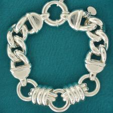 Sterling silver bracelet. Women's round & curb link chain 16mm.