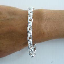Sterling silver oval rolo link bracelet 8,5mm. Hollow chain. Oval belcher bracelet.
