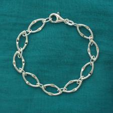 Braccialetto maglia lunga con congiunzione. Gioielli argento.