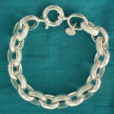 Bracciale argento 925 rolo ovale GODRONATO 13mm  - Bracciale donna