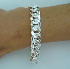 Solid sterling silver flat curb bracelet 12mm