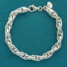 Bracciale artigianale in argento 925 MASSICCIO maglia ovale doppia. Larghezza 7mm.