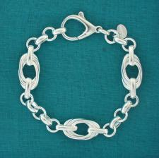 Solid sterling silver bracelet, oval link 12mm.