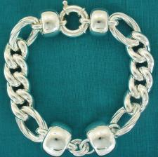 Sterling silver bracelet. Women's barilotto & curb link chain 14-18mm.