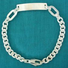 Sterling silver men's bracelet. Solid link curb chain 7mm. ID bracelet.