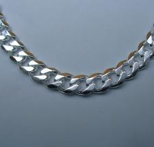 Sterling silver solid curb necklace 8mm