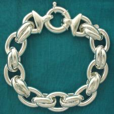 Women's 925 Italy silver bracelet. Oval & double oval link chain 16mm.