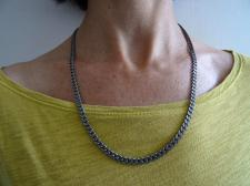 Oxidized sterling silver curb chain necklace 5mm