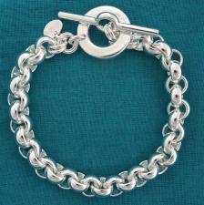 Bracciale argento maglia tonda chiusura tonda toggle