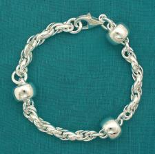 Solid sterling silver bracelet, fancy barilotto 12mm.