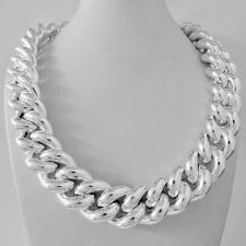 VISTOSISSIMA collana grumetta in argento 925. Larghezza 22mm. Peso 271 grammi. COLLANA ARTIGIANALE.