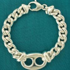 Sterling silver bracelet. Marina link 22mm and hollow curb chain.