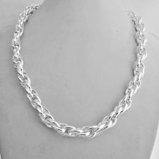 Collana artigianale in argento 925 MASSICCIO maglia ovale doppia. Larghezza 9mm.