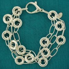 Bracciale fantasia maglie tonde argento 925 - Bracciale donna