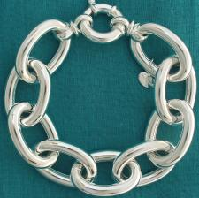 Sterling silver long oval link bracelet