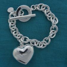 Bracciale argento maglie ovali e cuore