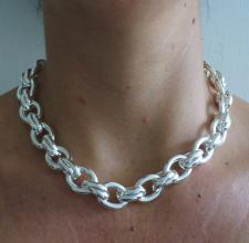 Oval link necklace in sterling silver