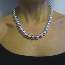 Sterling silver bead necklace 12mm