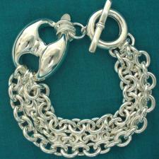 GRANDE Bracciale argento 925 maglia marina 27mm