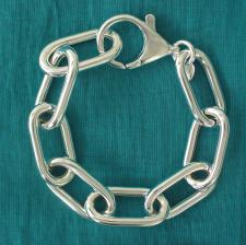 Sterling silver rectangular link bracelet 14,5mm. Hollow chain.