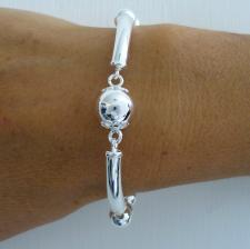Sterling silver fancy bead bracelet.