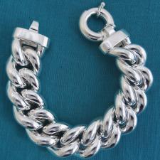 Sterling silver hollow curb bracelet