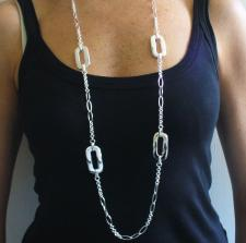 Long sterling silver necklace cm 105, solid chain & rectangular link. Hollow & solid link chain.