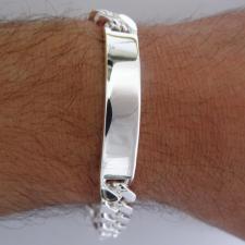 Bracciale grumetta diamantata 2 lati. Larghezza 10mm.  Piastra centrale lunghezza 40mm.