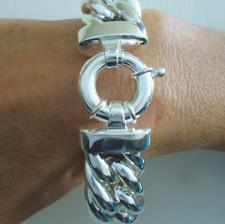 Sterling silver large double curb bracelet 21mm. Hollow link.