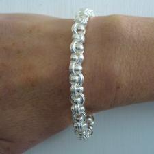 Solid 925 silver Garibaldi link bracelet 8,5mm. Handmade solid chain 43 grams.
