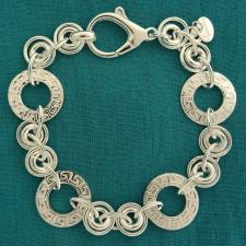 Sterling silver Greek key link bracelet