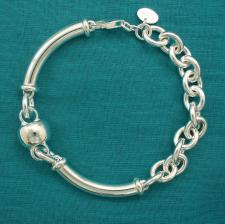 925 silver bracelet with barilotto link 12mm.