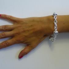 Bracciale argento 925 fantasia barilotto 14mm - Bracciale donna
