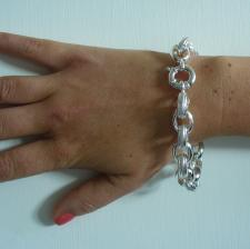 Sterling silver textured oval rolo bracelet