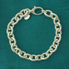 Sterling silver oval link bracelet 10mm. Hollow chain.