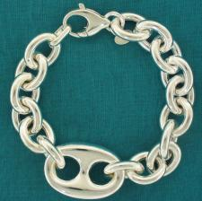 925 Italy silver mariner hollow chain bracelet 22mm.