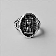 Anello chevalier uomo con clessidra in argento 925