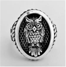 Anello argento gufo portafortuna