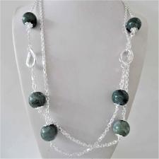 Collana in argento 925, sfere in agata verde muschiata 16mm. Catena a maglia forzatina e maglie o...