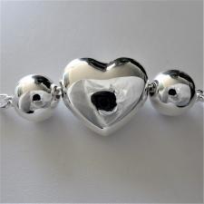 Bracciale argento cuore bombato
