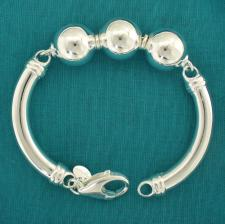 Sterling silver semi-bangle bracelet with balls 16mm.