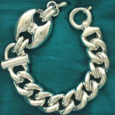 Bracciale argento 925 maglia marina 27mm catena grumetta vuota